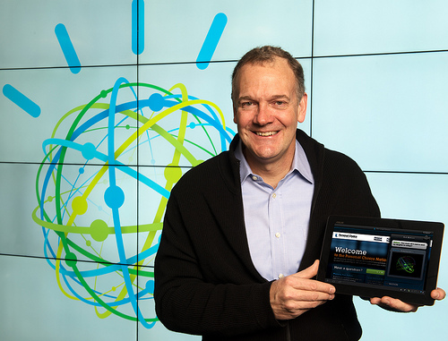 IBM Senior Vice President Mike Rhodin demonstrates a Watson cloud service at IBM Research headquarters in Yorktown Heights, NY, announced on Thurs., January 9, 2014. Mr. Rhodin will lead the IBM Watson Group, a new IBM business unit headquartered in the heart of New York City's Silicon Alley that will develop products and collaborate with start-ups on cloud-based cognitive apps and services powered by Watson. The IBM Watson Group will focus on R&D and commercialization of software, services and apps that think, improve by learning and discover answers to complex questions by analyzing massive amounts of Big Data. IBM will invest more than $1 billion in the unit, including $100 million in venture investments to support an ecosystem of entrepreneurs developing Watson-powered apps. (Image credit: Jon Simon/Feature Photo Service)