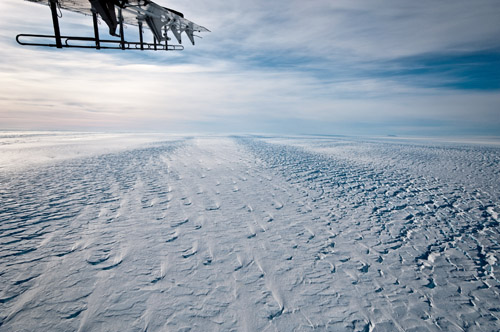 The Pine Island ice shelf in 2009. This photo was taken near the grounding line, where the land-based glacier transitions to a floating ice shelf. Image credit: Ian Joughin, UW