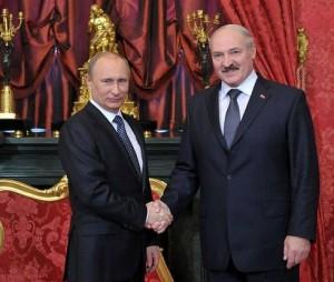 President Alexander Lukashenko, right, shaking hands with Russian President Vladimir Putin, left, in 2012. Image credit: Kremlin.ru