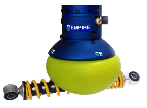 VERSABALL is shown here dexterously picking up a shock absorber, but it also can handle hex nuts, glass or plastic bottles and other objects with odd shapes. VERSABALL is a new commercial product derived from the robot-gripper invention of researchers at the University of Chicago and Cornell University. Image courtesy of Empire Robotics