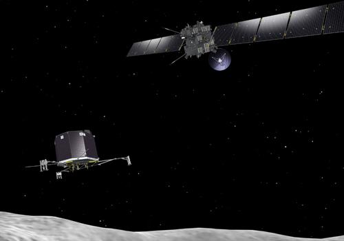 An artist's interpretation of the Rosetta orbiter deploying the Philae lander to comet 67P/Churyumov–Gerasimenko. Image credit: J. Huart, ESA