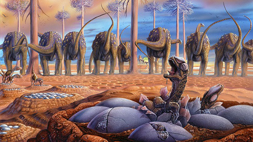 """""""Sauropod Nesting Grounds — Hatching,"""" illustration by Luis Rey: Herds of female sauropod dinosaurs called titanosaurs gathered at traditional nesting grounds some 80 million years ago in what is now Patagonia, Argentina. Image credit: Yale University"""
