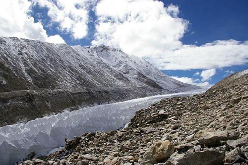 Schrumpfender Gletscher (Naimona'nyi Gletscher) im Südwesten Tibets. Foto credit: Niklas Neckel/ Universität Tübingen