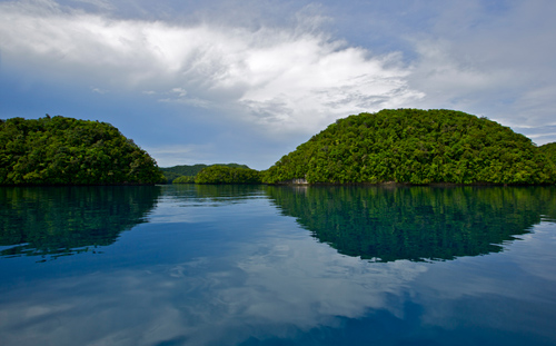 """The Rock Islands of Palau are like a maze with lots of channels and inlets for the water to wind around. The water sits in the bays for a long time before being flushed out, becoming more and more acidic. Organisms living in the water are changing the water's chemistry as they build their shells and breath carbon dioxide into the water. """"It's a little bit like being stuck in a room with a limited amount of oxygen – the longer you're in there without opening a window, you're using up oxygen and increasing CO2,"""" explains Shamberger.  (Photo by Pat Lohmann, Woods Hole Oceanographic Institution)"""