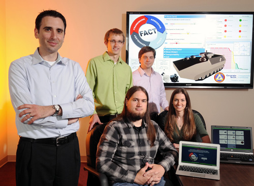 The Georgia Tech Research Institute (GTRI) team that developed the Framework for Assessing Cost and Technology (FACT) includes (left to right, standing) Tommer Ender, Daniel Browne, Santiago Balestrini-Robinson, (seated) Aaron Hansen, Jennifer DeLockery. Image credit: GTRI