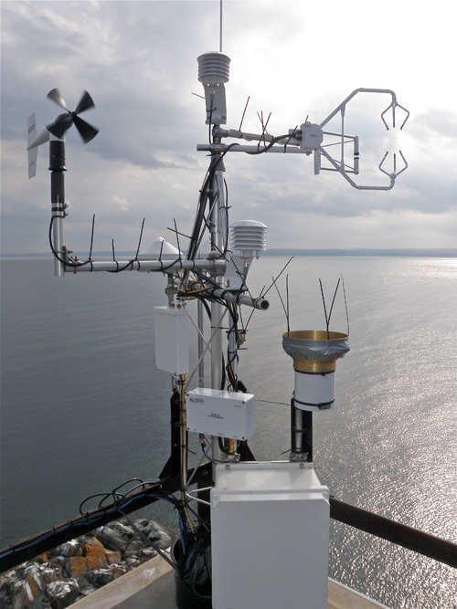 A weather station on Granite Island, Lake Superior. This weather station is part of a five-site network to measure year-round Great Lakes evaporation. In addition to evaporation, the weather station measures air temperature, relative humidity, barometric pressure, carbon dioxide, wind speed and direction, precipitation, solar radiation, and water temperature. Image credit: John Lenters