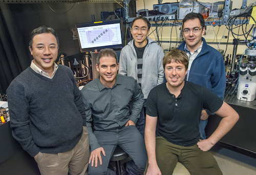 From left Xiang Zhang, Haim Suchowski, Zi Jing Wong, Kevin O'Brien and Alessandro Salandrino have created a nonlinear light-generating zero-index metamaterial that holds promise for future quantum networks and light sources. Photo by Roy Kaltschmidt (Click image to enlarge)