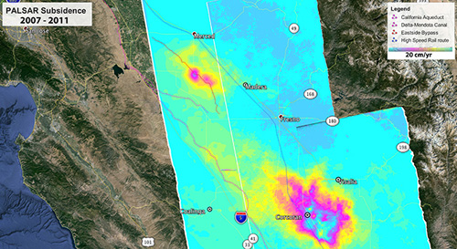 Map showing subsidence (sinking) rates in California's southern Central Valley from 2007 to 2011 as measured by radar data from the Japan Aerospace Exploration Agency's PALSAR instrument on JAXA's Advanced Land Observing Satellite. One full cycle of the color bar equals 20 centimeters (about 8 inches) per year. NASA is using space-based radar data to monitor groundwater depletion in California. Image credit: NASA/JPL-Caltech/JAXA/Google Earth