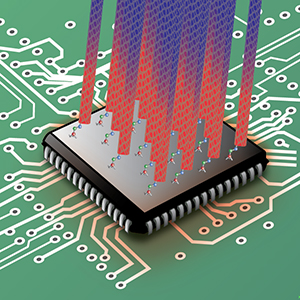 Cooling microprocessor chips through the combination of carbon nanotubes and organic molecules as bonding agents is a promising technique for maintaining the performance levels of densely packed, high-speed transistors in the future. Image credit: Berkeley Lab