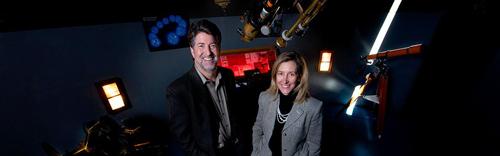 Evan Skillman and Kristen McQuinn study the dwarf galaxy Leo P, a remnant of the Big Bang. Image credit: University of Minnesota