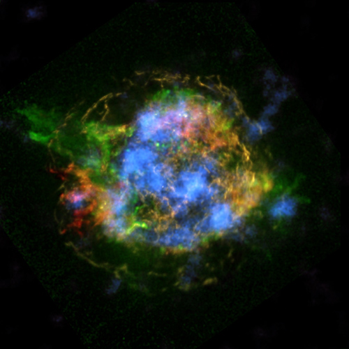 Untangling the Remains of Cassiopeia A. This is the first map of radioactivity in a supernova remnant, the blown-out bits and pieces of a massive star that exploded. The blue color shows radioactive material mapped in high-energy X-rays using NuSTAR. Image credit: NASA/JPL-Caltech/CXC/SAO