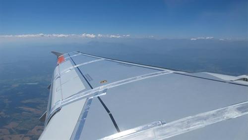 Flügel des Forschungsairbus ATRA mit Messensorik. Image credit: DLR