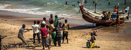 Ghanas Fischer bringen oft nicht nur Fisch mit an Land. Image credit: NABU.de