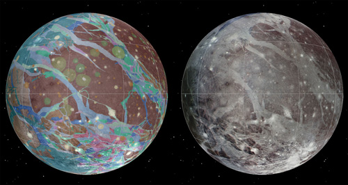 Making the map of Ganymede was a long and complex task. Some of the scientists behind today's announcement were graduate students and postdocs at Brown when the Galileo data began to arrive in the 1990s. Image credit: Image and animation courtesy of U.S. Geological Survey