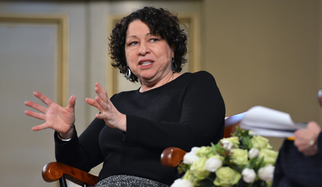 U.S. Supreme Court Associate Justice Sonia Sotomayor discussed her journey from a Bronx housing project to becoming the first Hispanic on the nation's highest court. Image credit: Yale University