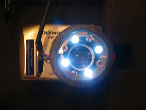 The prototype of the Astrobiological Imager consists of an off-the-shelf digital camera with modifications such as LEDs, which would allow for spectral analyses of rock samples. (Photo credit: Wolfgang Fink)