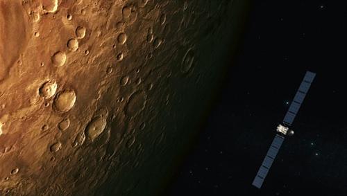 Rosettas Vorbeiflug am Mars im Februar 2007. Image credit: DLR.de
