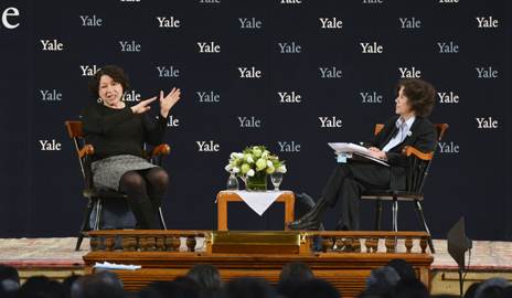 Sotomayor answered questions from law professor Judith Resnik. Image credit: Yale University