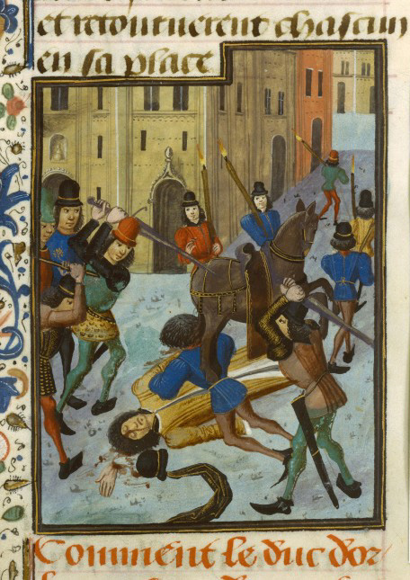 An illustration in a late 15th century chronicle depicts the assassination of Duke Louis of Orleans on Paris's rue Vieille du Temple. Image credit: University of California