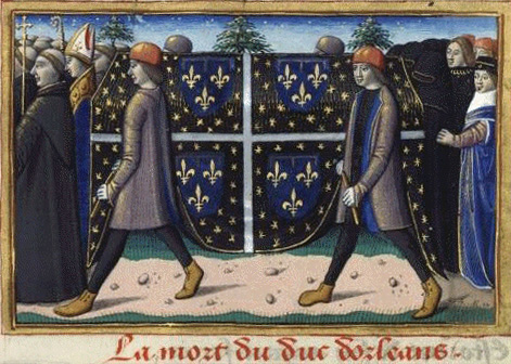 A 15th century illuminated manuscript depicts the 1407 funeral of the Duke Louis of Orleans. Image credit: University of California