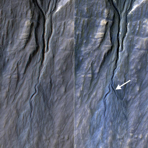 This pair of before (left) and after (right) images from the High Resolution Imaging Science Experiment (HiRISE) camera on NASA's Mars Reconnaissance Orbiter documents formation of a new channel on a Martian slope between 2010 and 2013, likely resulting from activity of carbon-dioxide frost. Image credit: NASA/JPL-Caltech/Univ. of Arizona