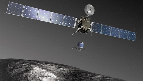 Philae landet auf dem Kometen. Image credit: DLR
