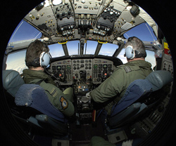 RAF Pilot Training in Cockpit of Nimrod Aircraft (Image credit: SAC Brown RAF/MOD, source Wikimedia Commons)