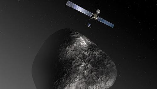 Rosetta am Kometen. Image credit: DLR
