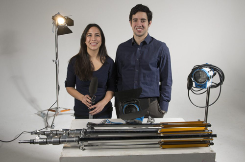 Cinema and Media Studies students Stephanie Zelaya, AB'13, and fourth-year Vicente Fernandez worked as interns on the feature film Divergent last year in Chicago. Photo by Robert Kozloff