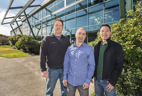 Berkeley Lab scientists Steve Yannone, Sylvain Costes and Jonathan Tang (left to right) helped launch Exogen Biotechnology. (Photo by: Roy Kaltschmidt/Berkeley Lab)
