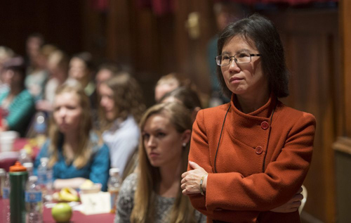 Young-Kee Kim, Louis Block Professor in Physics, chaired the organizing committee of the Midwest Conference for Undergraduate Women in Physics held on campus Jan. 16 to 19. Photo by Robert Kozloff