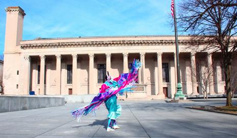 Dorame performs a fancy shawl powwow dance on Beinecke Plaza. (Photo by David Rico '16)