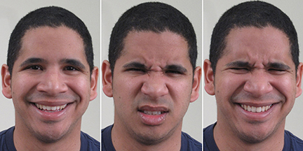Researchers at the Ohio State University have found a way for computers to recognize 21 distinct facial expressions -- even expressions for complex or seemingly contradictory emotions. The study gives cognitive scientists more tools to study the origins of emotion in the brain. Here, a study participant makes three faces: happy (left), disgusted (center), and happily disgusted (right). Image courtesy of The Ohio State University