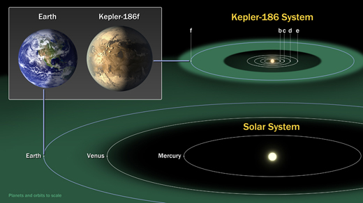 The diagram compares the planets of our inner solar system to Kepler-186, a five-planet star system about 500 light-years from Earth in the constellation Cygnus. Image credit: NASA Ames/SETI Institute/JPL-Caltech