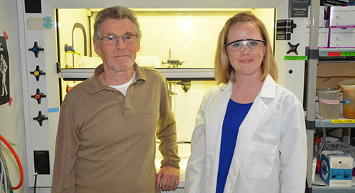 Michael Russell and Laurie Barge of NASA's Jet Propulsion Laboratory, Pasadena, Calif., are pictured in their Icy Worlds laboratory, where they mimic the conditions of Earth billions of years ago, attempting to answer the question of how life first arose. Image credit: NASA/JPL-Caltech