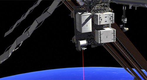 This artist's concept shows how the Optical Payload for Lasercomm Science (OPALS) laser will beam data to Earth from the International Space Station. Image credit: NASA
