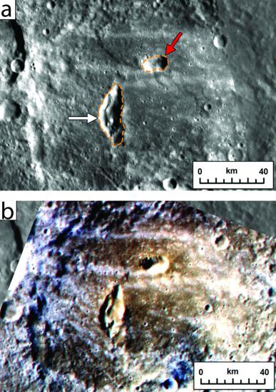 Measuring geological time. Two pyroclastic vents on the floor of Mercury's Kipling crater, top, would likely not have survived the impact; they are more recent. The false color image of the same spot, bottom, marks pyroclastic material as brownish red. Image credit: Brown University