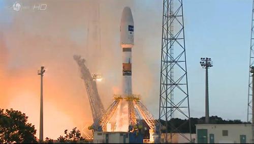 Start der Sojus-Rakete mit Sentinel-1A. Image credit: DLR