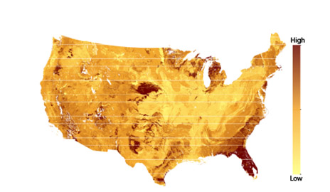 This heat map shows the areas of the United States where the soil microbial biomass is susceptible to changes in vegetation cover. Image credit: Yale University