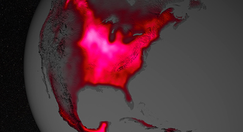 The magnitude of fluorescence portrayed in this visualization prompted researchers to take a closer look at the productivity of the U.S. Corn Belt. The glow represents fluorescence measured from land plants in early July, over a period from 2007 to 2011. Image credit: NASA's Goddard Space Flight Center
