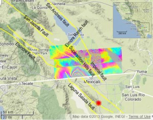 UAVSAR measurements north of the 2010 El Mayor-Cucapah earthquake, which scientists have learned was followed by quiet movement on faults in California. Inset map shows the region on the California-Mexico border. Image credit: NASA/JPL/USGS/California Geological Survey/Google (Click image to enlarge)