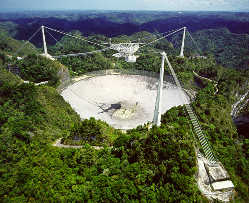 """The last person to control a satellite from the Arecibo radio telescope was a villain from a James Bond movie,"" Gold said. Image credit: University of Arizona"