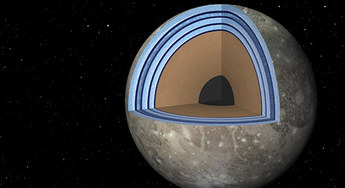 "This artist's concept of Jupiter's moon Ganymede, the largest moon in the solar system, illustrates the ""club sandwich"" model of its interior oceans. Image credit: NASA/JPL-Caltech"