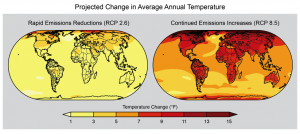 The best case (left) and worst case (right) scenarios considered in the National Climate Assessment both show temperature increases by the end of the century. Image credit: Berkeley Lab (Click image to enlarge)