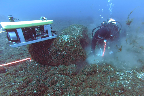 Diver and remote operated vehicle collecting samples at Drop 45 Drive Lane in Lake Huron. Image credit: University of Michigan