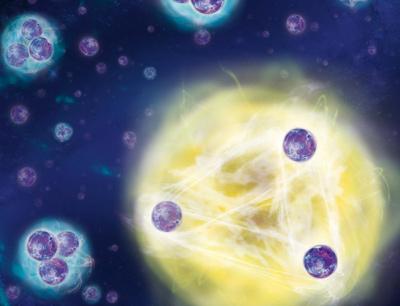 Der Dreikörper-Quantenzustand wiederholt sich, wenn die Teilchen um circa den Faktor 21 von einander entfernt werden. (Illustration credit: IQOQI/Harald Ritsch)