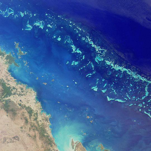 Satellitenfoto eines Teils des Great Barrier Reef nordöstlich von Australien. Image credit: NASA (Source: Wikipedia)