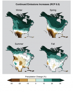 Projected change in seasonal precipitation for 2071-2099 (compared to 1970-1999) under an emissions scenario that assumes continued increases in emissions. Image credit: Berkeley Lab (Click image to enlarge)