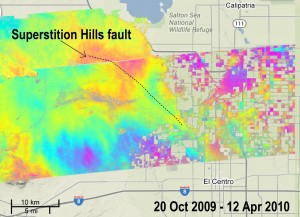 UAVSAR measurement, called an interferogram, of quiet movement on the Superstition Hills Fault after a 2010 Baja California earthquake, overlaid on a Google Earth image. Image credit: NASA/JPL/USGS/California Geological Survey/Google (Click image to enlarge)