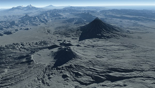 Perspektivische Ansicht der Krascheninnikov-Caldera (im Vordergrund) und des 3528 Meter hohen Kronotsky-Vulkans, der als nahezu perfekter Kegel emporragt. Links am Horizont erkennt man den Kljutschevskoi-Vulkan, mit 4835 Metern die höchste Erhebung Kamtschatkas. Die Ansicht wurde mit Daten der Satellitenmission TanDEM-X des Deutschen Zentrums für Luft- und Raumfahrt (DLR) berechnet. Image credit: DLR